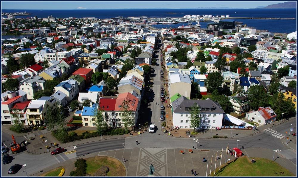 iceland, reykjavik, hallgríms church, panorama