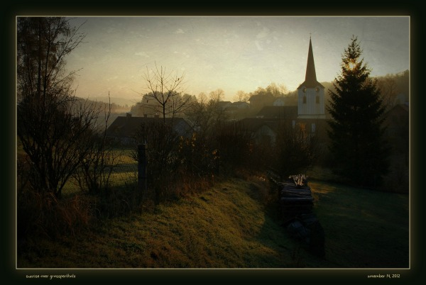 waldviertel, großpertholz, sunrise, church, trees
