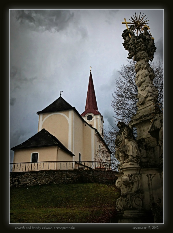 waldviertel, grosspertholz, church, trinity column