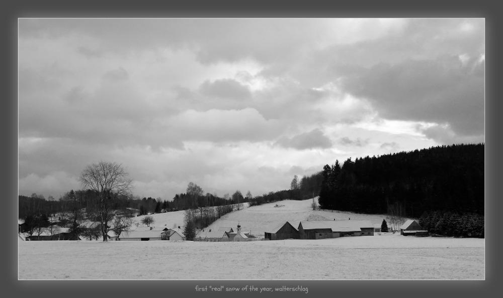 waldviertel, walterschlag, village, snow, clouds