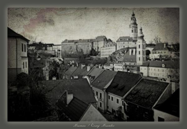 krumau, český krumlov, castle, town, engraving