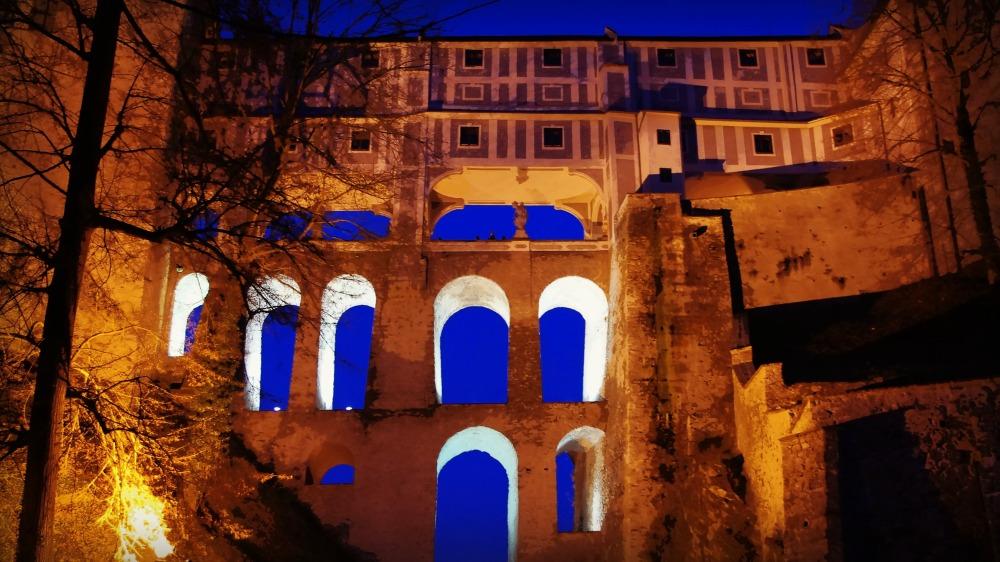 krumau, český krumlov, castle, bridge, night