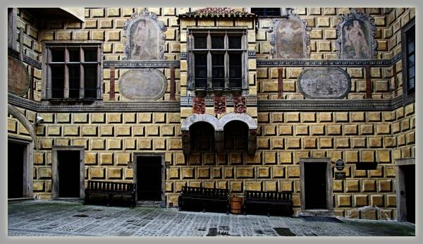 krumau, český krumlov, castle, courtyard