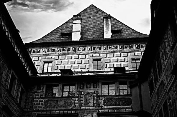 krumau, český krumlov, castle, courtyard, bw
