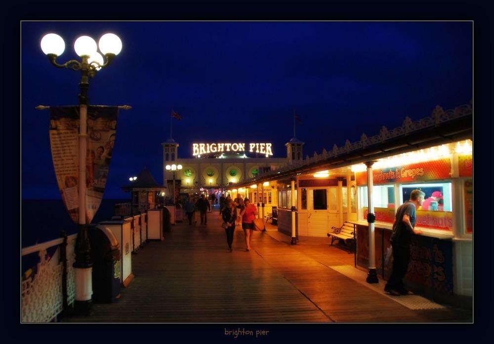 england, brighton, pier, night