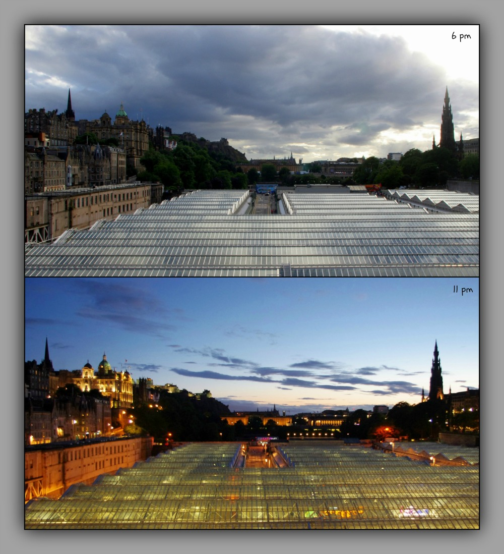 scotland, edinburgh, two panoramas, 6 & 11 pm