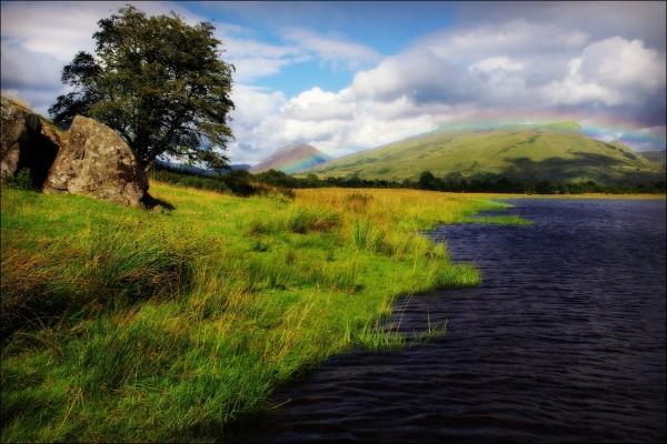 scotland, loch awe, mountains, rainbow