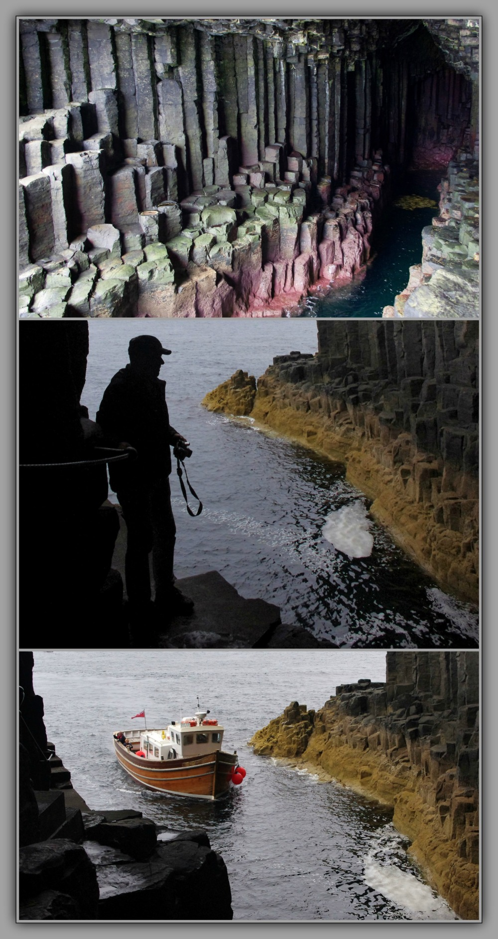 scotland, staffa, fingal's cave, triptych