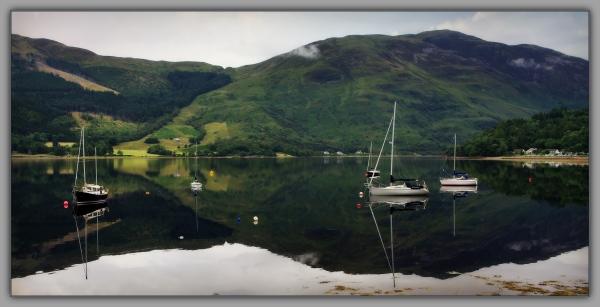 scotland, loch etive, glencoe marina, reflections