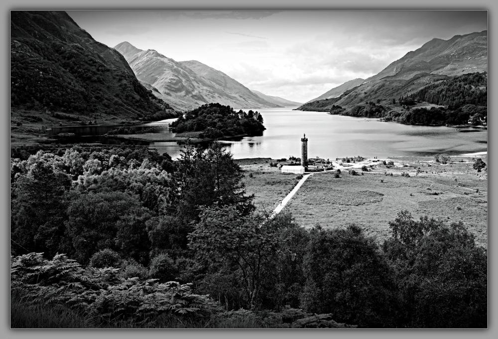 scotland, loch shiel, glenfinnan, monument, bw