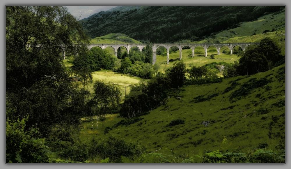 scotland, glenfinnan viaduct, orton, posterised