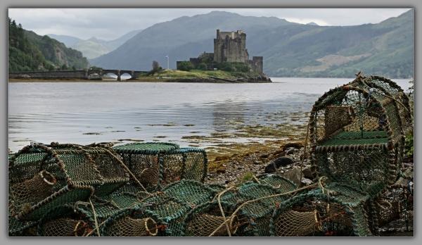 scotland, eilean donan castle, lobster pots