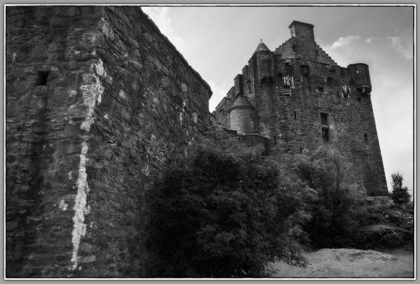 scotland, eilean donan castle, walls, bw