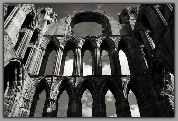 scotland, elgin cathedral, ruins, south wall, bw