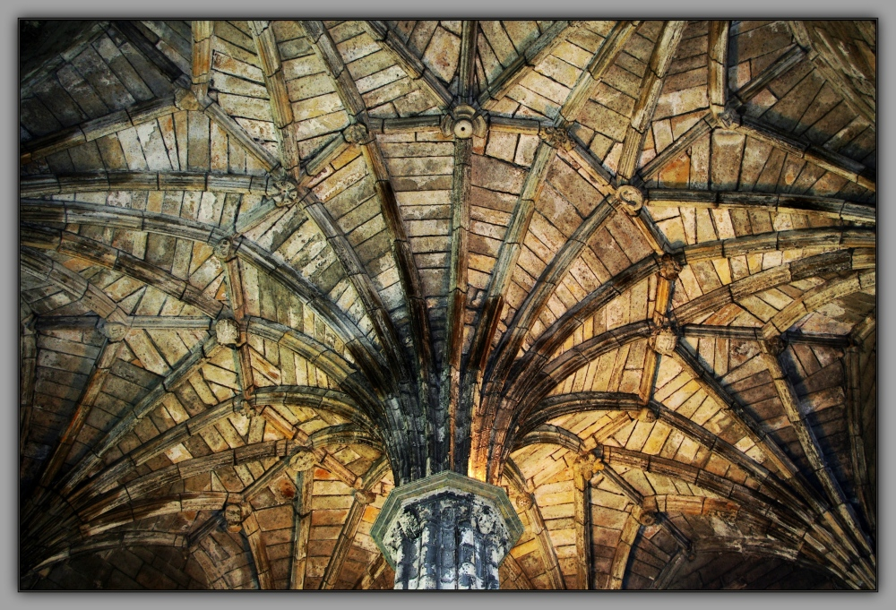 scotland, elgin cathedral, chapter house, ceiling