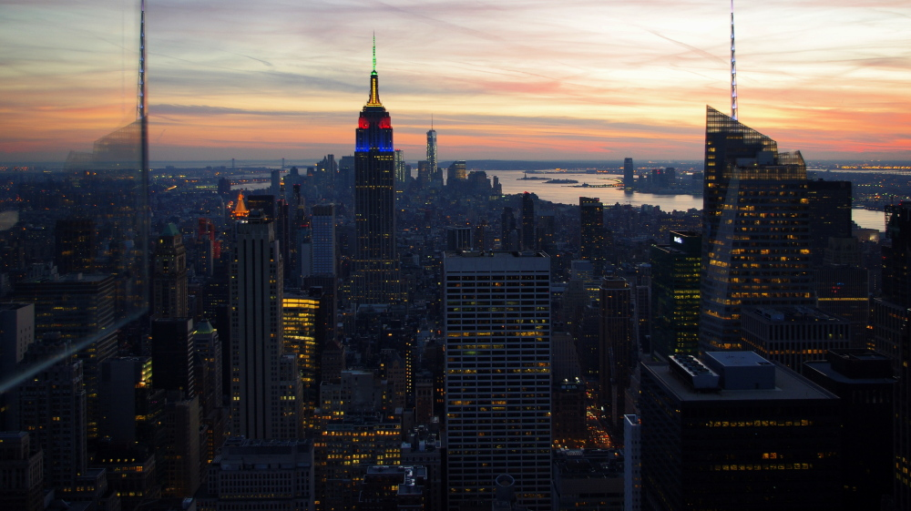 new york city, sunset, top of the rock