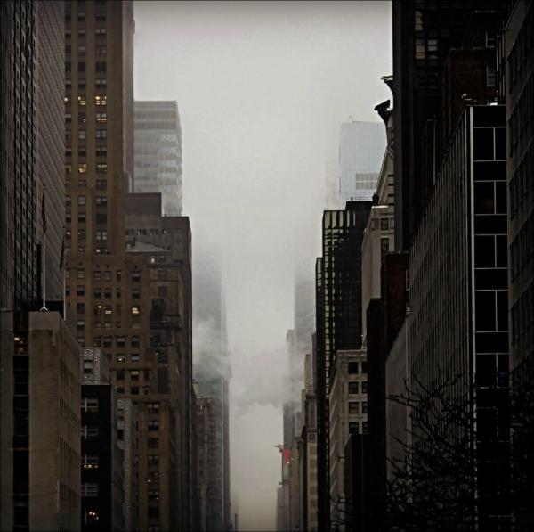 new york city, skyscrapers, haze