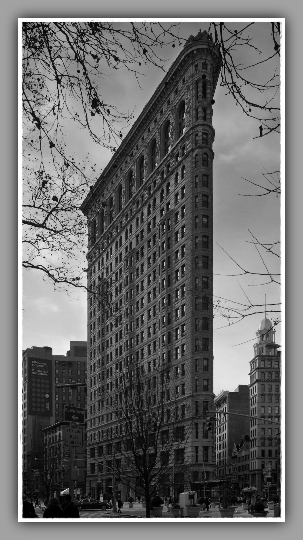 new york city, flatiron building, b&w