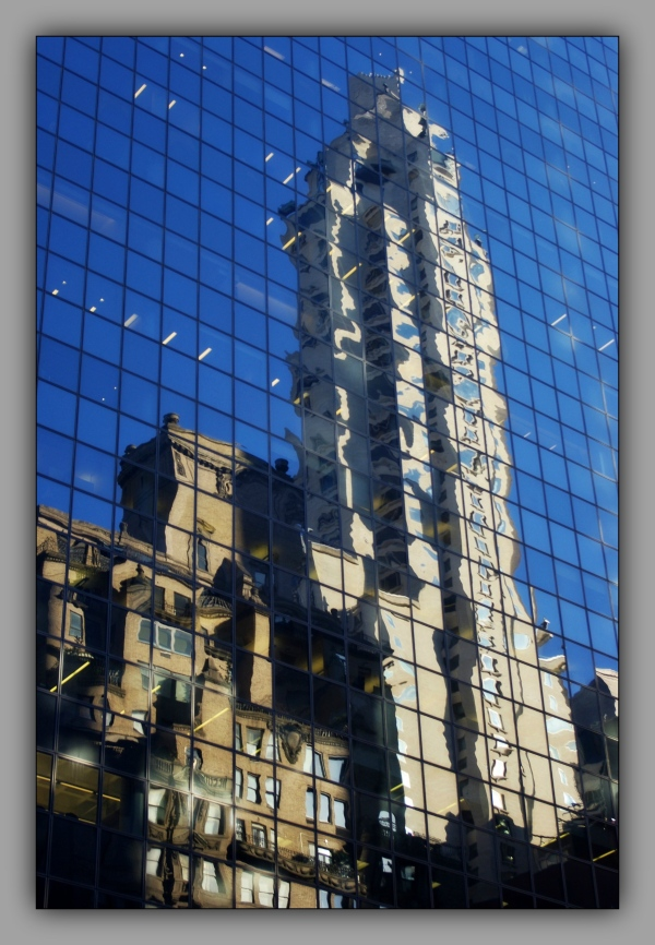 new york city, skyscrapers, reflections