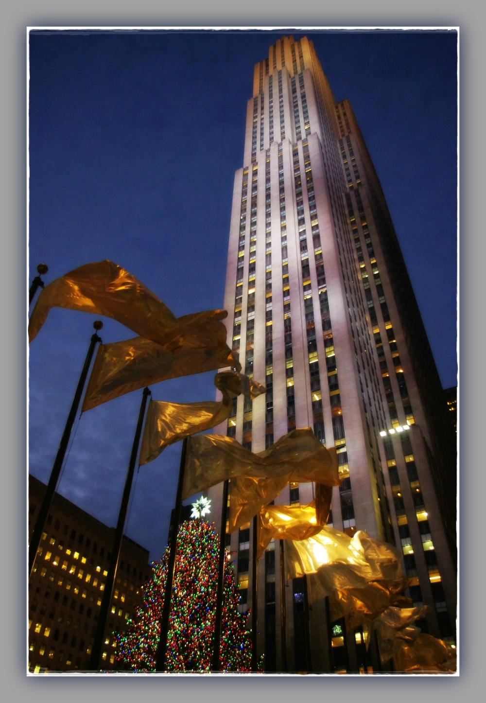 new york city, rockefeller center, night