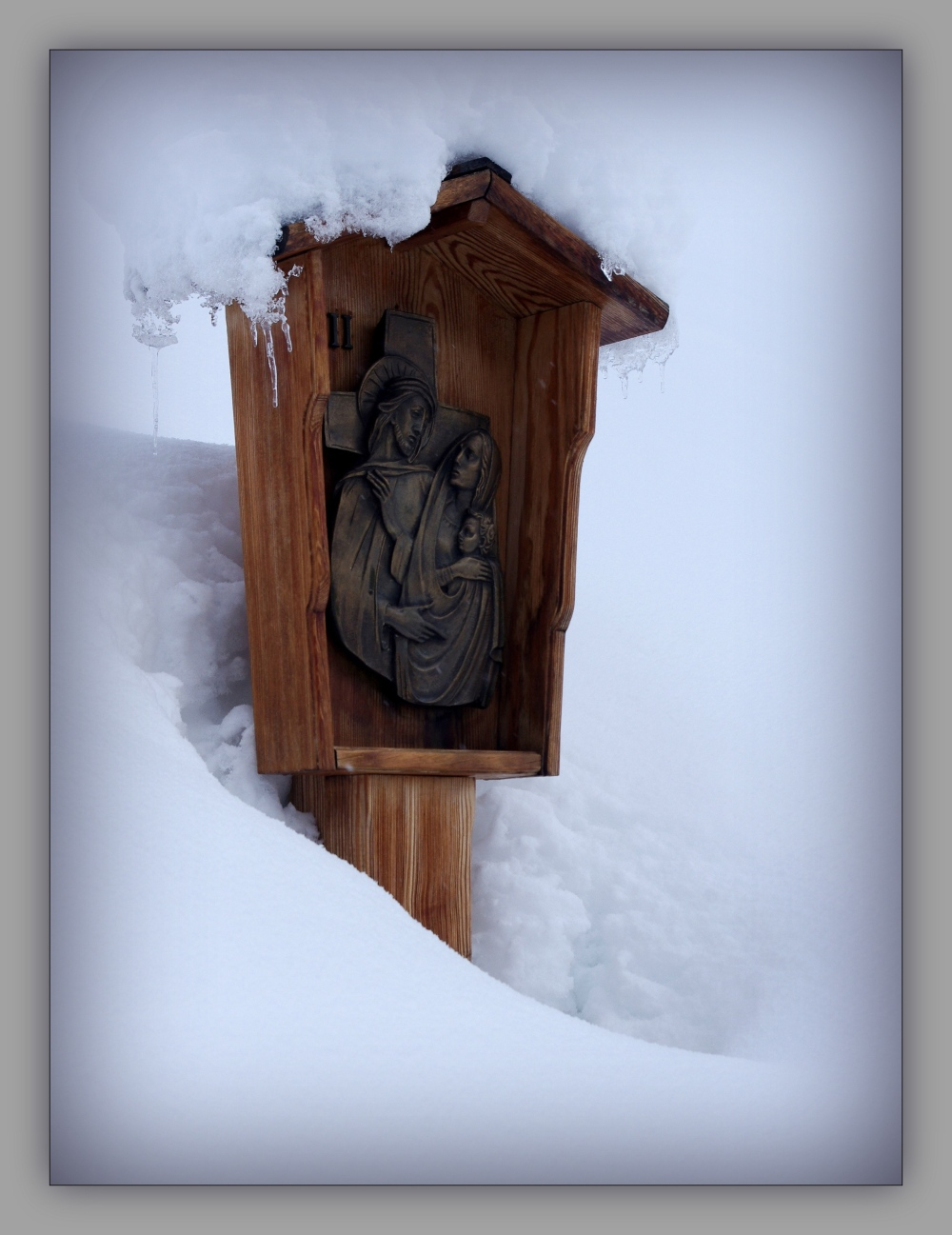 corvara, snow, station of the cross