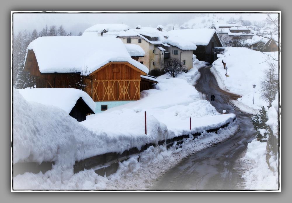 corvara, colfosco, snow, village