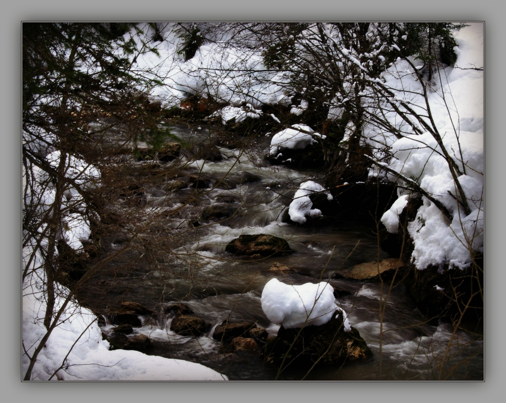corvara, gaderbach, snow, creek, gran ega
