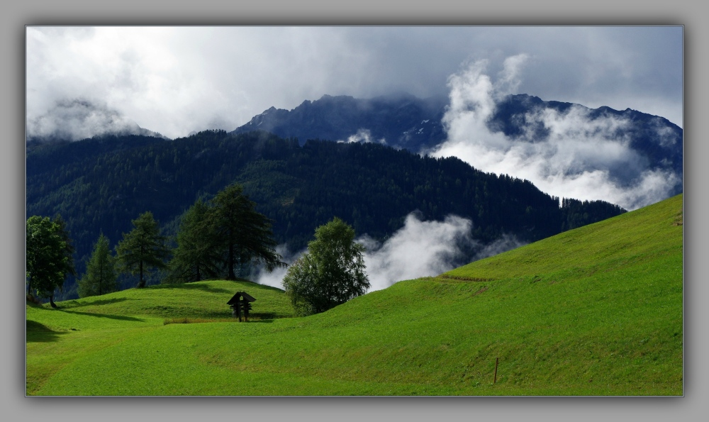tirol, fiss, alps, mountain meadow, clouds