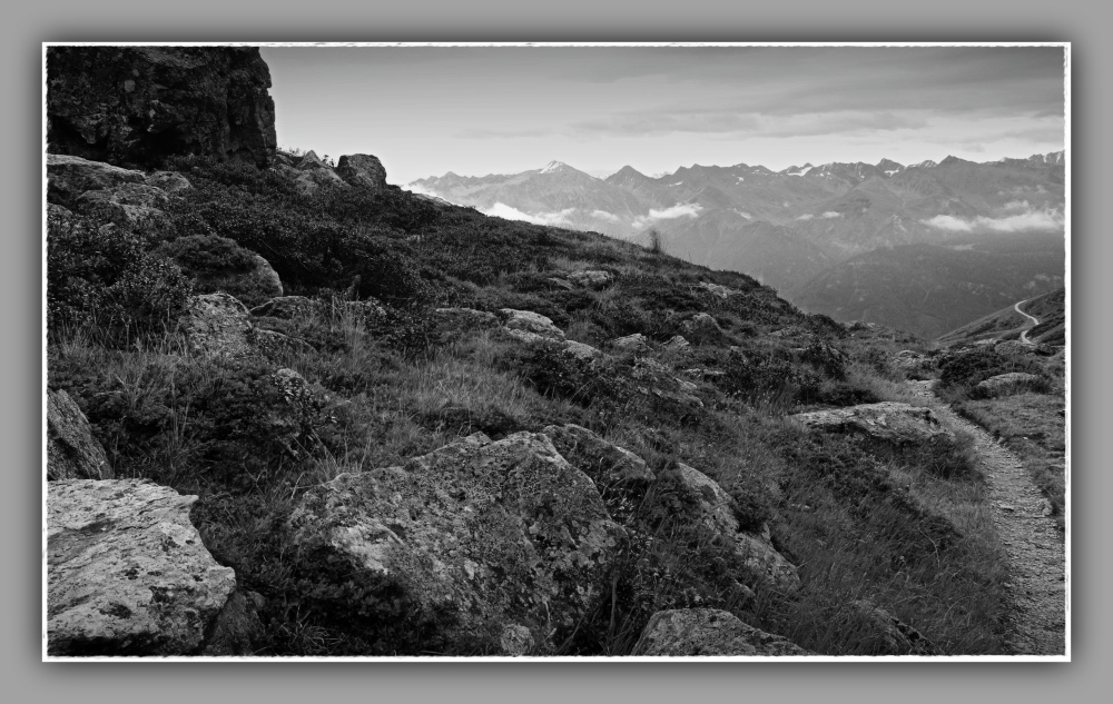 tirol, fiss, mountains, alps, trail, bw