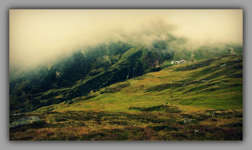 tirol, fiss, mountains, alps, fog, cross