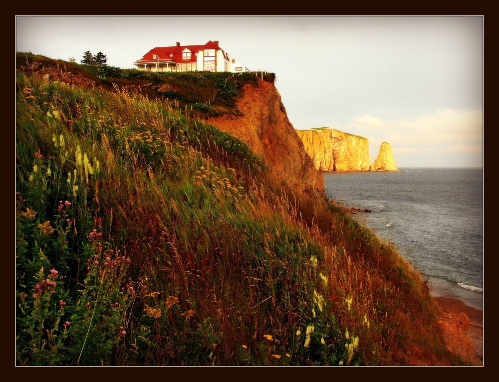 quebec, percé, cliffs, house, view, flowers