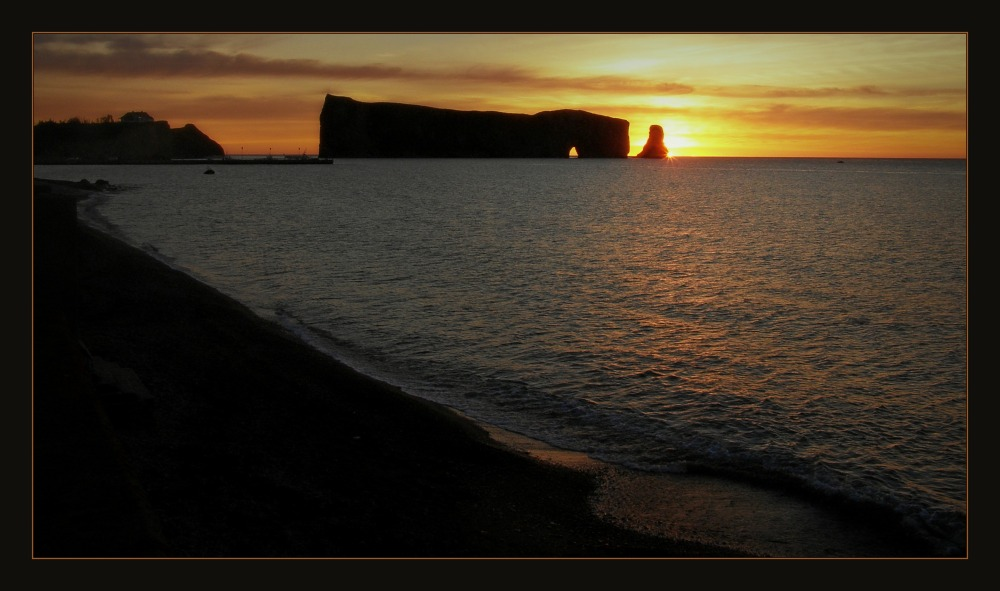 quebec, percé, the rock, sunrise