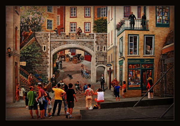 quebec, murals, illusion, reality