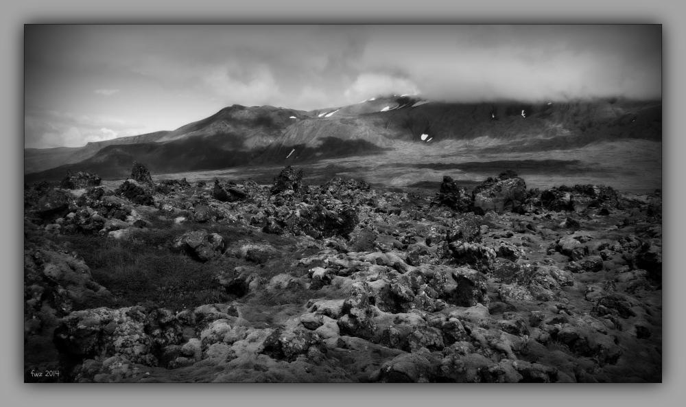 iceland 2014, snæfellsnes, lava field, b&w