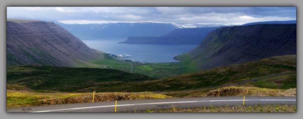 iceland 2014, westfjords, bildudalur, pano