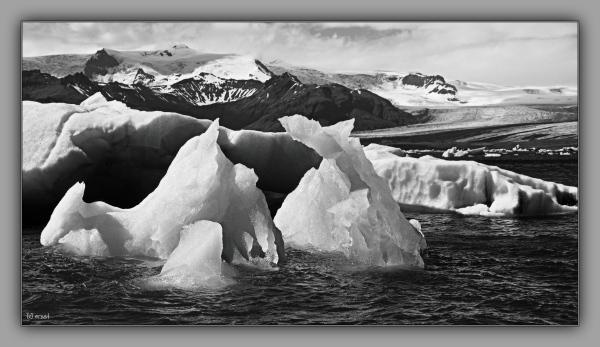 iceland 2014, glacier lagoon, icebergs, bw