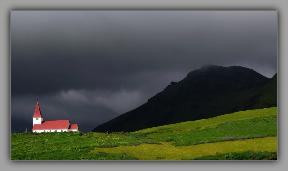 iceland 2014, vík, church, mountains, clouds