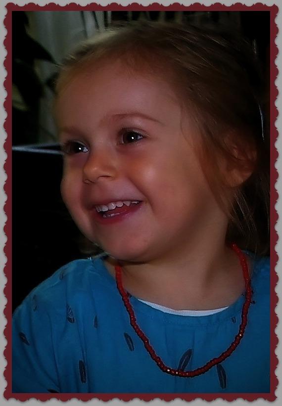 emilia, 37 months old, smiling