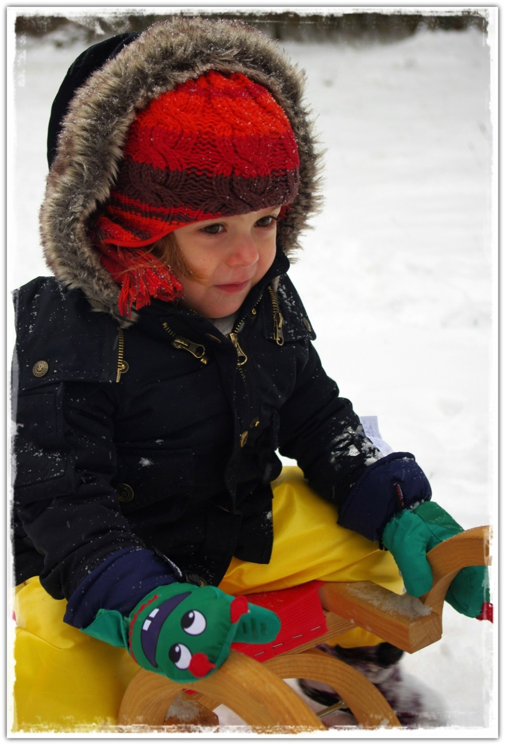 emilia, 40months old, snow, sledge, fun
