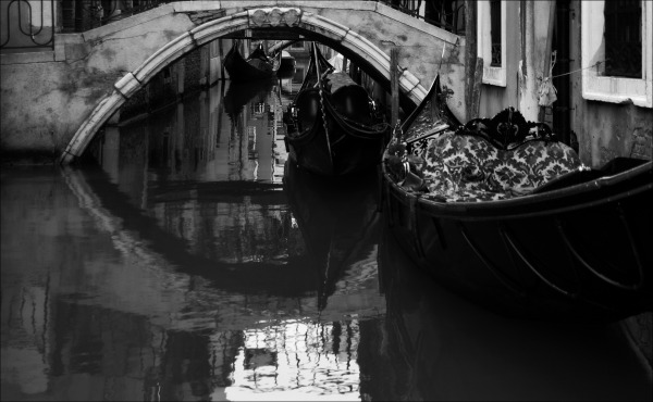 venice, bridge, canal, bw