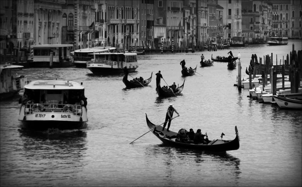 venice, canal grande, gondolas, vaporetti, bw