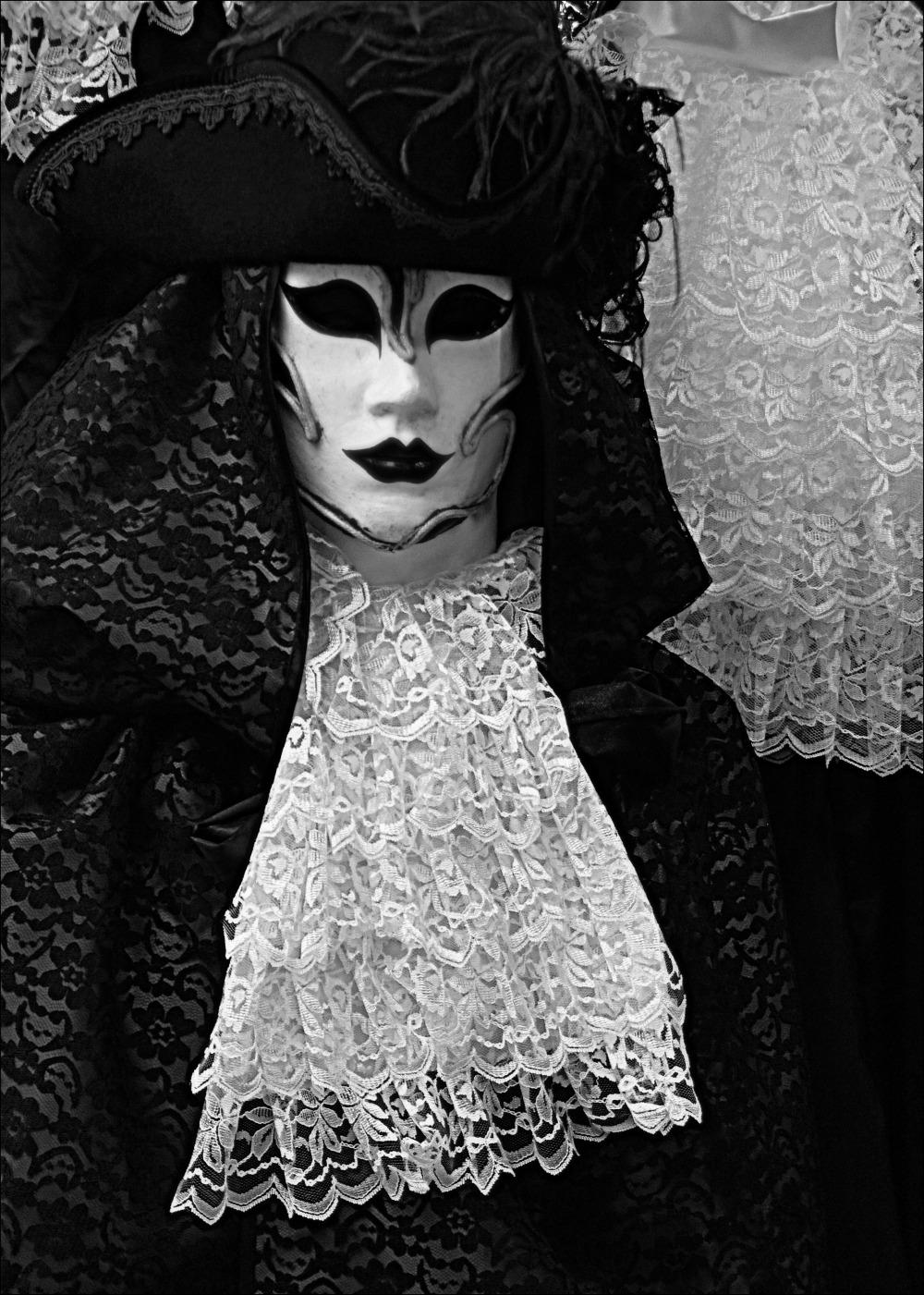 venice, carnival, mask, bw
