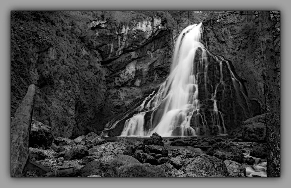 austria, salzburg, golling, waterfall, bw
