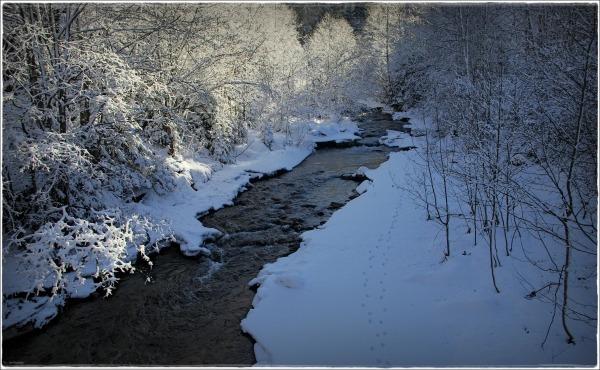 italy, corvara, winter, snow, creek