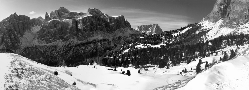italy, corvara, winter, sella, bw