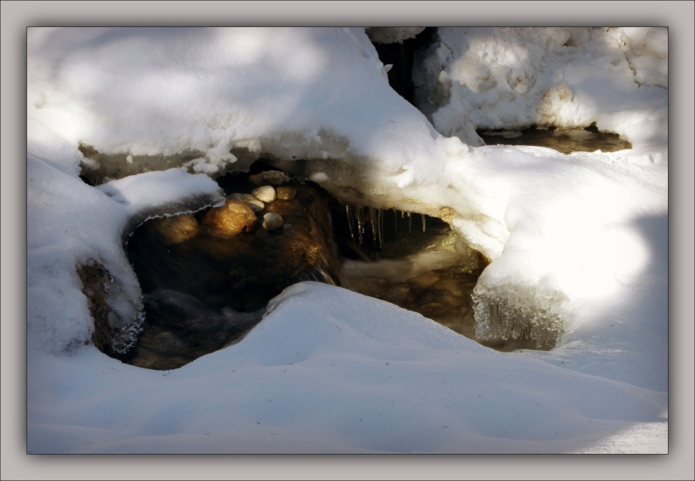 winter, snow, ice, water, creek