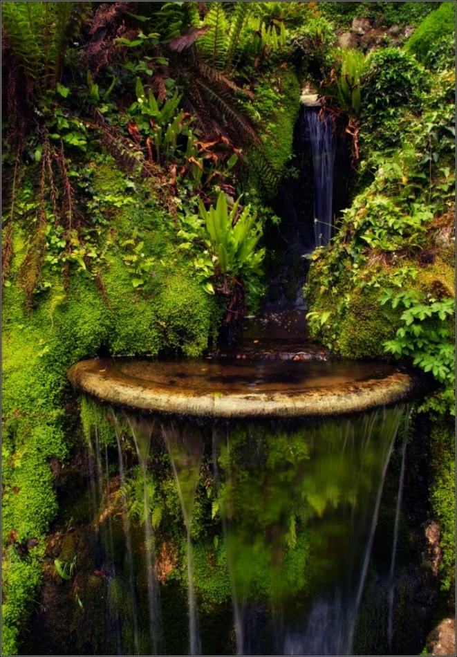 ireland, powerscourt gardens, water well