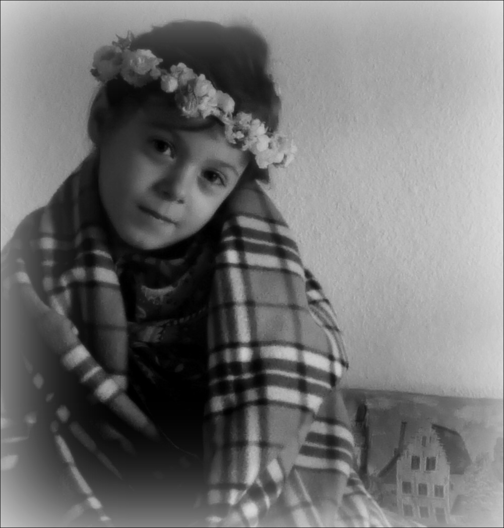 emilia, five and two, wreath, blanket, bw