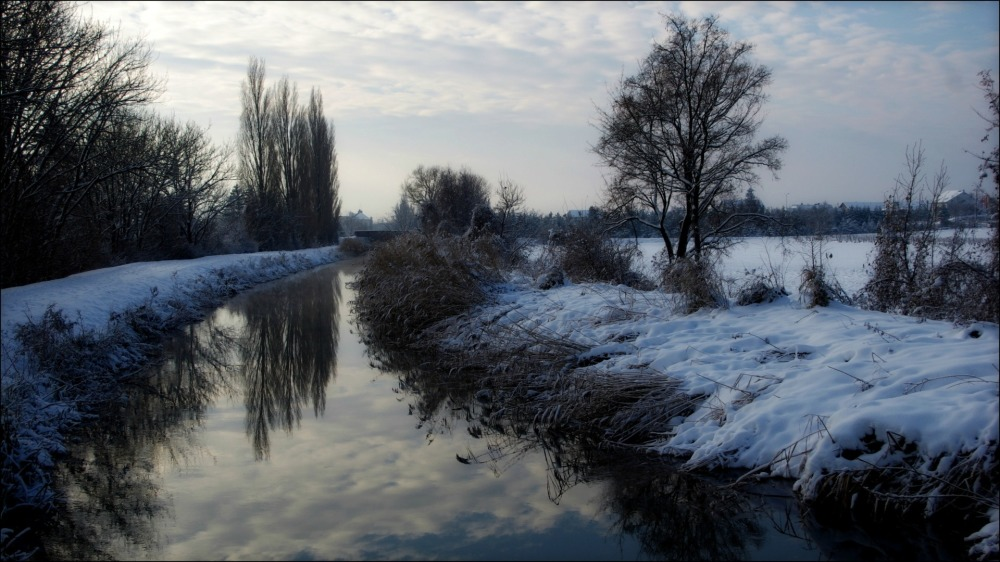 austria, winter, snow, canal