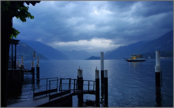 italy, bellagio, evening, ferryboat